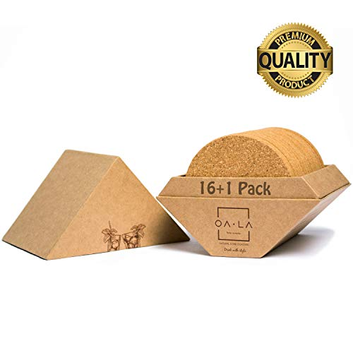 Natural cork coasters for drinks - Premium pack of 16 in Gift Box holder, rounded-edge, absorbent, 100% eco-friendly, heat-resistant, protective, durable, ideal for glasses, cups & mugs - by OALA ()