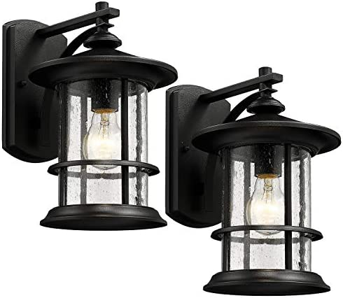 MICSIU Outdoor Wall Light Fixture Exterior Wall Mount Lantern Waterproof Vintage Wall Sconce with Clear Seedy Glass for Front Porch, Patio, Backyard, Textured Black 2 Pack, Large