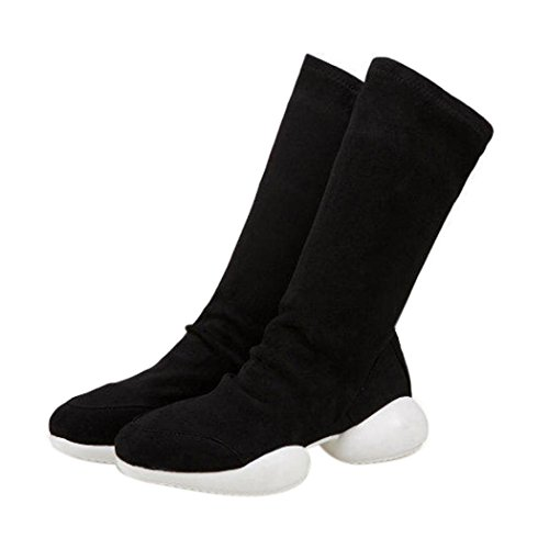 Inkach Femmes Bottes Casual Chaussures À Talons Bas Bottes De Combat Noir