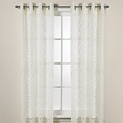 DKNY Halo Grommet Sheer Window Curtain Panels In Ivory