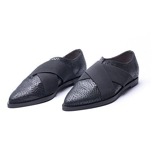 Black Textured Italian Leather Oxfords Featuring Criss Cross Closing Panels, Women's Designer Handmade ()