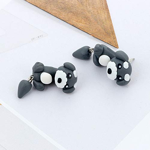 Topdo Womens Girls Stud Earrings Animal Grey Dog Cute Soft Pottery Daily Ear Cuff Simple Jewelry Gift 1Sets