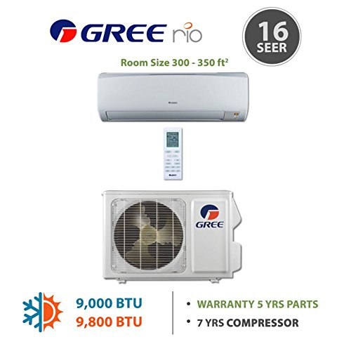 Gree RIO09HP115V1A - 9,000 BTU 16 SEER RIO Wall Mounted Mini Split Air Conditioner with Heat Pump 115V (Split Level Air Conditioner compare prices)