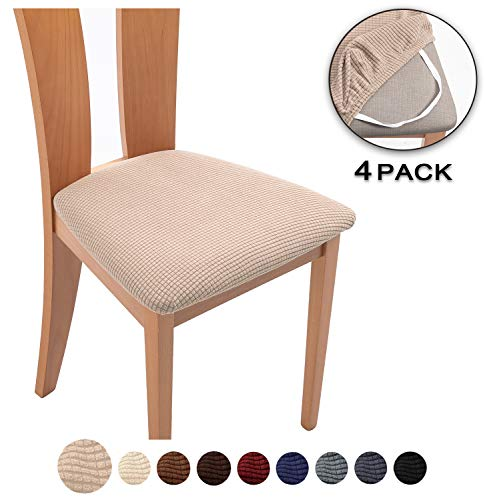 TIANSHU Spandex Jacquard Dining Room Chair Seat Covers,Removable Washable Elastic Cushion Covers for Upholstered Dining Chair (4 Pack, Sand)