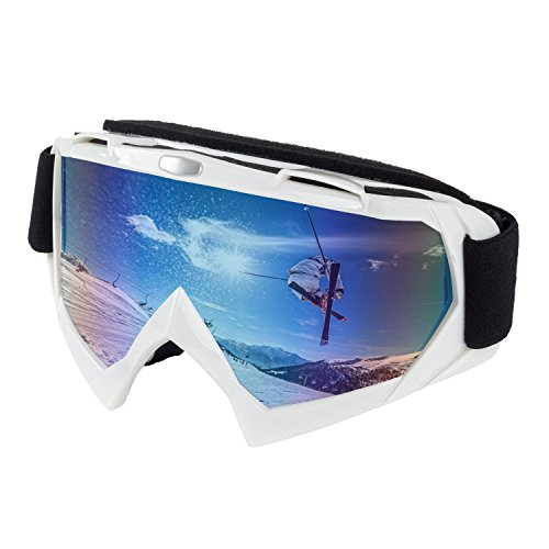 OTG Ski Goggles, Wind Resistance Motorcycle Goggles Anti-fog Ski Glasses Adult Skiing Snow Goggles with Broader View for Motocycling, Cycling, Skiing, Skatting and Riding in Colorful Lens