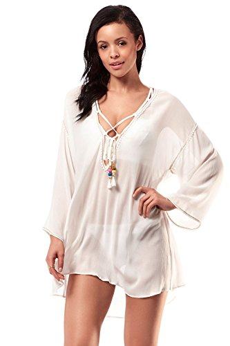 Robin Piccone Women's Aria Tunic Swim Cover Up White S by Robin Piccone