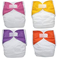 Kidsaroo Cloth Nappy, Pack of 4 Nappies with double gussets and 8 Inserts - Charcoal Bamboo and Microfibre