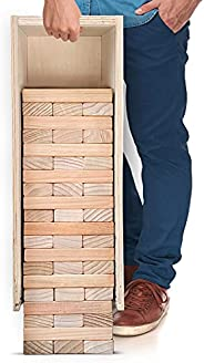 SWOOC Games - Giant Tower Game with 3-in-1 Straightener, Table & Storage Box - 90% Faster Set Up with Tran