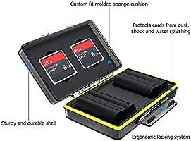 JJC Estuche para Tarjetas de memorias: 2 Tarjetas Compact Flash + 2 baterías(para Canon LP-E6 LP-E6N LP-E17 LP-E8 LP-E10 LP-E12 NB-13L Sony NP-FZ100 ...