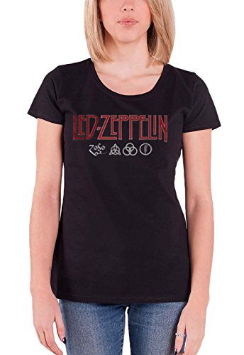 Led Zeppelin T Shirt Logo and Symbol Official Womens Junior Fit Black Size 10