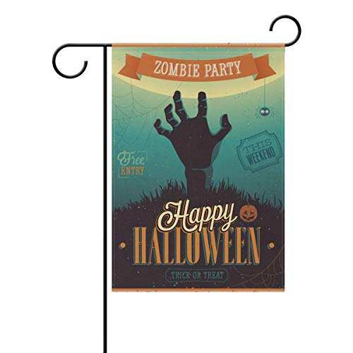 AUUOCC Halloween Zombie Party Seasonal Holiday Garden Flag Yard House Flag Banner 28 x 40 inches Decorative Flag for Home Indoor Outdoor Decor -