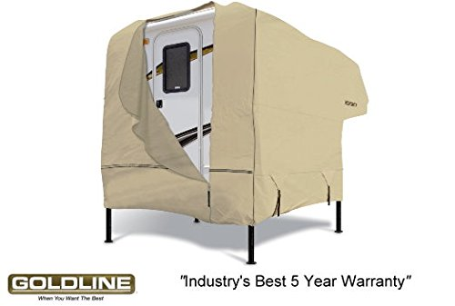 Tan Goldline Premium Long Life RV Cover For Truck Camper 10 to 12 FT
