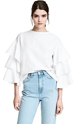 Multi-layer Ruffled Ruffle Bell Sleeve Long Sleeve Blouse T-Shirt Shirt Tee Top White XL