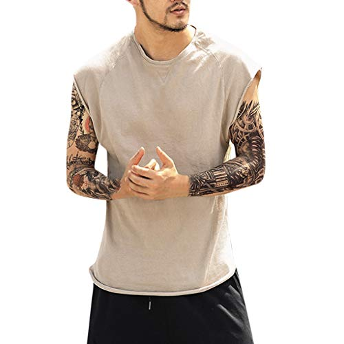 YKARITIANNA Fashion Men's Summer Baggy Solid Sleeveless O-Neck T Shirts Tops Blouses 2019 Khaki ()
