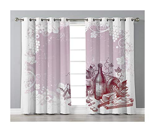 Goods247 Blackout Curtains,Grommets Panels Printed Curtains Living Room (Set of 2 Panels,52 84 Inch Length),Wine -