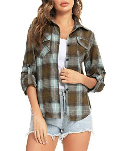 Enjoyoself Damesblouse geruit 100% katoen hemd Bocheron Western casual klassiek retro Schotland katoen flanellen blouse…