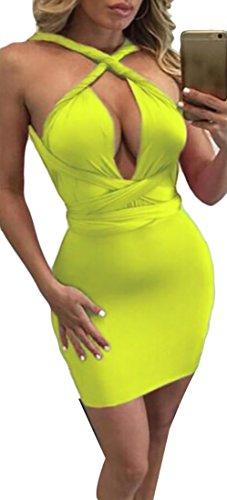 Donne Vestito Solida Giallo Bodycon Basso Randello Sexy Dal Fasciatura Colore Taglio Di Jaycargogo Mini Delle RHaCqTqP