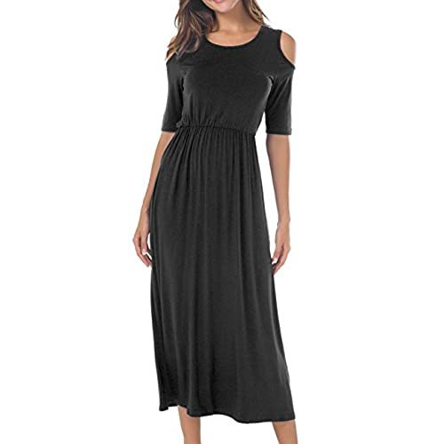CUBEA Women Swing Casual Evening Party Maxi Dress(Medium,Black)