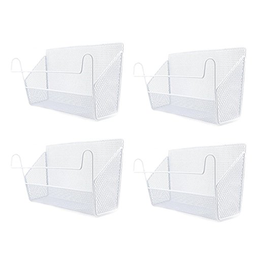4Pack Dormitory Bedside Storage Baskets, YIFAN Mesh Origanizer Caddy for Books Phones Drinks Office Home Table Hanging Organizer Desktop Corner Shelves - White