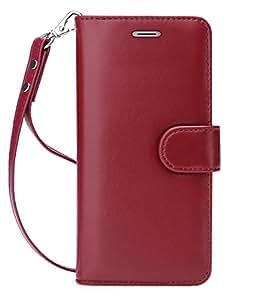 FYY Galaxy S8 Case,[RFID Blocking wallet] 100% Handmade Premium Genuine Leather Wallet Case for Samsung Galaxy S8 Wine Red