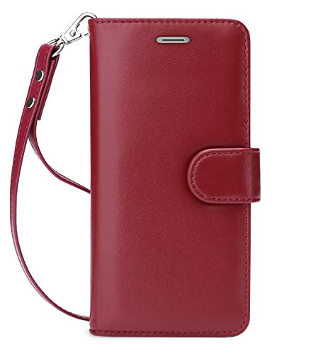 Price comparison product image FYY Galaxy S8 Plus Case,[RFID Blocking wallet] 100% Handmade Premium Genuine Leather Wallet Case for Samsung Galaxy S8 Plus Wine Red