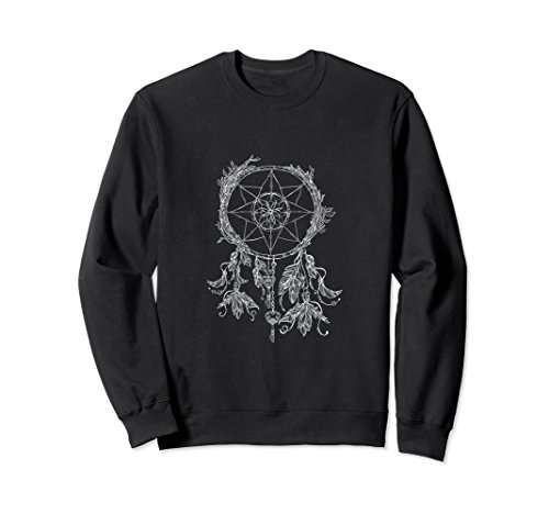 Unisex Dreamcatcher Sweatshirt: Spiritual Native American Culture XL: Black -