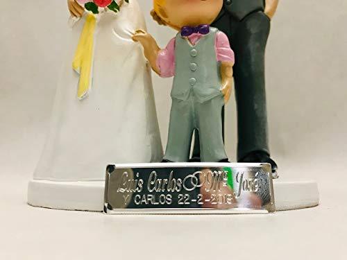 Figura boda PERSONALIZADA novios CON HIJO tarta figuras GRABADAS ni/ño