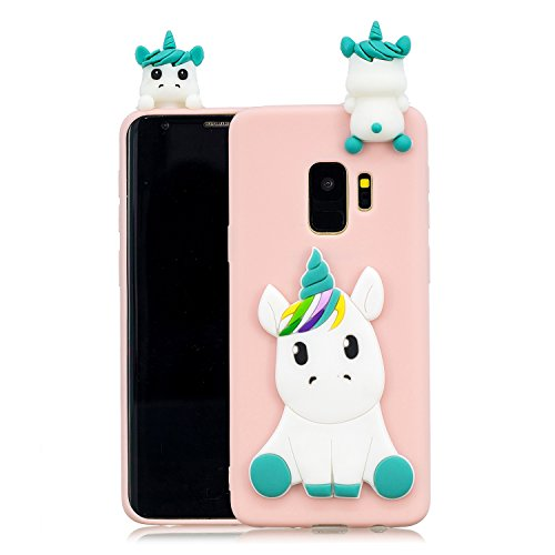 (DAMONDY Galaxy S9 Case, Samsung S9 Cute Case, Galaxy S9 Cartoon Case, Cute 3D Unicorn Cartoon Soft Gel Silicone Design Rubber Skin Thin Protective Cover Phone Case for Samsung Galaxy S9-Pink)
