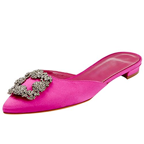 Kmeioo Mules for Women,Womens Satin Rhinestones Mule Flats Shoes Pointed Toe Jeweled Embellishment Mule Slides