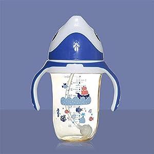 Adesign Baby Feeding Bottles Breast Milk Bottle Toddler Water Cup,Anti Leak,280ml Straw Bottle, Breast Milk Nipple, Drop…