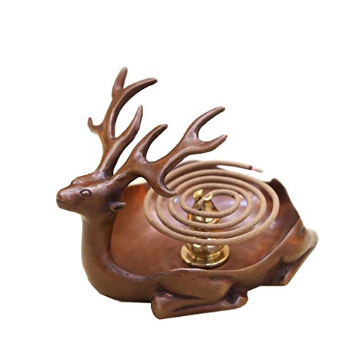 (Home Décor Incense Holders Pure Copper Antique Fawn Incense Burner Home Indoor Incense Sandalwood Tea Ceremony Incense Burner Decoration Incense Holders (Color : Brown))