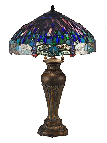 Dale Tiffany TT15102 Blue Dragonfly Tiffany Table Lamp Antique Bronze