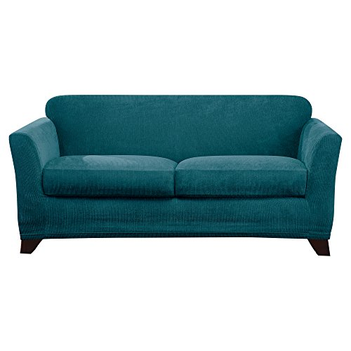 Sure Fit Ultimate Stretch Chenille Loveseat Slipcover - Teal (SF46331) ()
