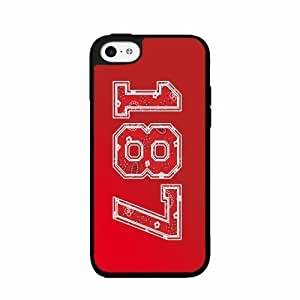 187 Red Paisley Background- TPU RUBBER SILICONE Phone Case Back Cover iPhone 5c