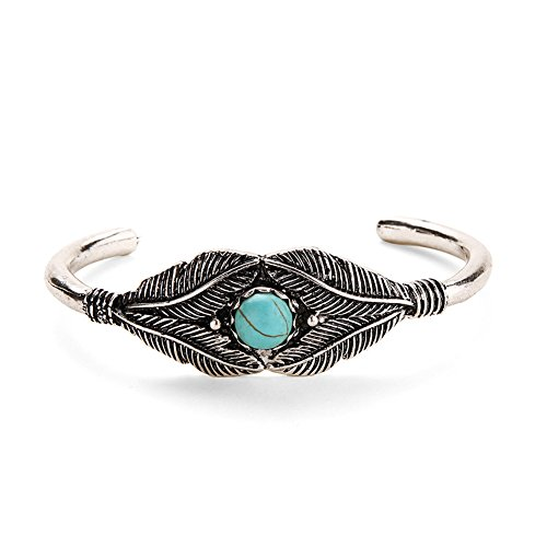 Turquoise Leaf Bracelet - JERY Vintage Turquoise Leaves Feather Open Bracelet Cuff Bangle for Women Jewelry Accessories Fashion Gifts (silver)