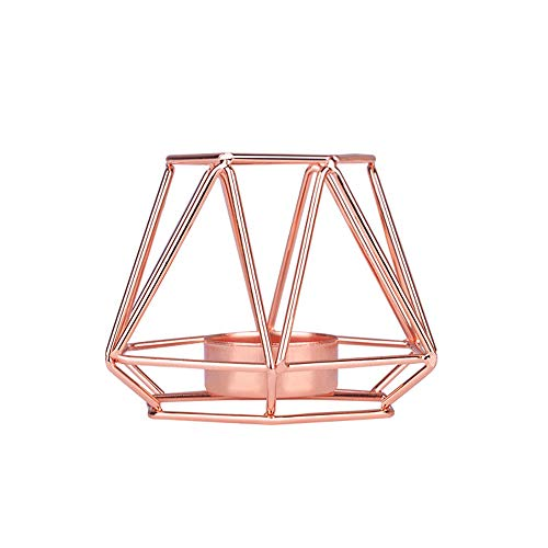 R STAR 3D Geometric Metal Candle Holders Classic Hollow Candlestick Room Table Decoration Short Candlestick Stand for Dinner Wedding Home Ornaments(Small Rose Gold)