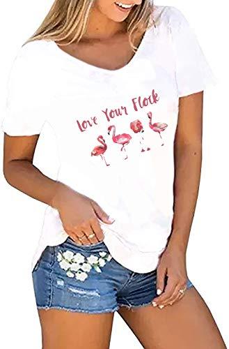 Karuina Womens Short Sleeve Shirts Casual Summer Tops Flamingos Printed Tees Blouse (XXL, White-3)