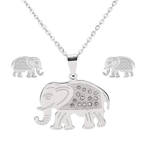 SUNSCSC Vintage Retro Boho Luckly Crystal Turquoise Elephant Pendant Necklace Enamel Earrings Set (Crystal Earrings ()
