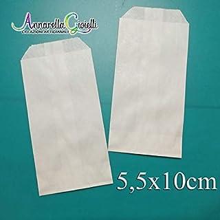 100 pezzi SACCHETTI carta bianca, 5,5x10 cm, confettata, bianco, bustine carta, sacchetti carta confetti, confettata, bianco 5,5x10
