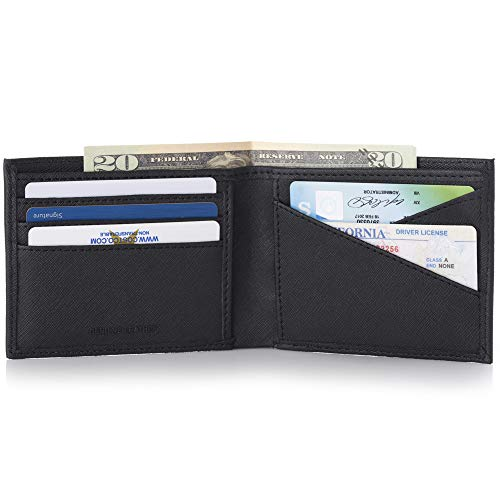 - Alpine Swiss Double Diamond Mens RFID Bifold Wallet with Divided Bill Section Crosshatch Black
