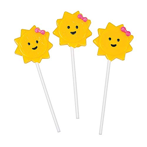 Fun Express - You Are My Sunshine Character Suckers for Birthday - Edibles - Sucker & Pop - Character Suckers - Birthday - 12 - Sunshine Lollipops