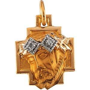 14 Carats Tête de Jésus Croix pendentif couronne diamant brut 12 x 11,5-JewelryWeb mm