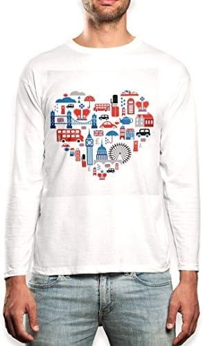 igsticker プリント ロング Tシャツ ロンT 長袖 カットソー メンズ XL サイズ size おしゃれ クルーネック 白 ホワイト t-shirt 001185 ラブリー ハート 街 イギリス