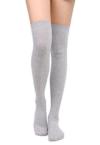 Womens Winter Kabel stricken über Knee High Tigh hohe Socken 1-3 Paar Einzelnes hellgraues