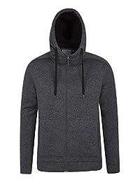 Mountain Warehouse Nevis Mens Fur Lined Hoodie -Soft Fleece Sweatshirt Black X-Large