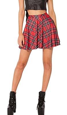 chouyatou Women's Basic Plaid Printed Versatile Flared Skater Mini Skirt