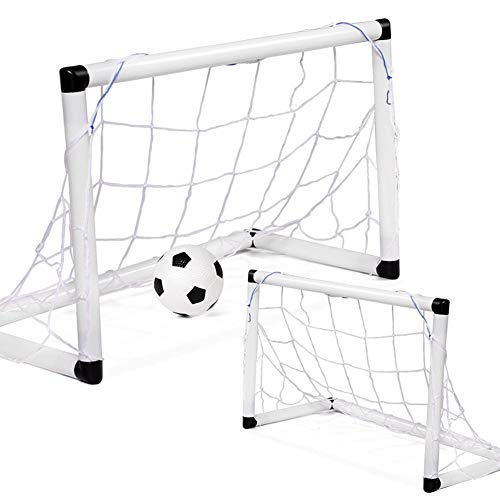 (LEOO 2-Pack Youth Soccer Goals with Soccer Ball and Pump | Portable Goals with Nets | Kids Sport Activity, Practice Size Equipment | Travel and Backyard Play Toys for)