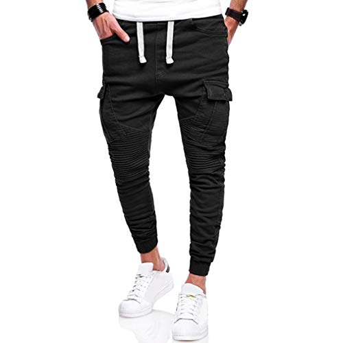 Pervobs Mens Pant, Clearance! Men's Casual Sport Joint Lashing Belts Loose Outdoors Work Drawstring Pant Trousers (4XL, ()
