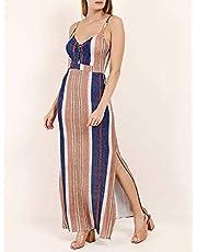 Vestido Longo Feminino Autentique Bege/azul