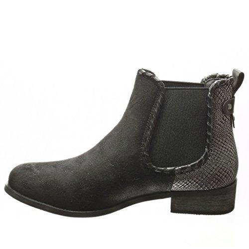 Angkorly - Zapatillas de Moda Botines chelsea boots bimaterial mujer piel de serpiente tachonado Talón Tacón ancho 3 CM - plantilla Forrada de Piel - Negro